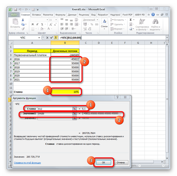 Аргументы функции ЧПС в Microsoft Excel